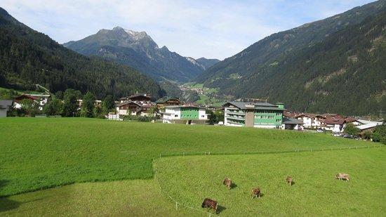 Apparthotel König: Mayrhofen, Finkenburg and Grinberg (Green Mountain) from Hotel Koenig