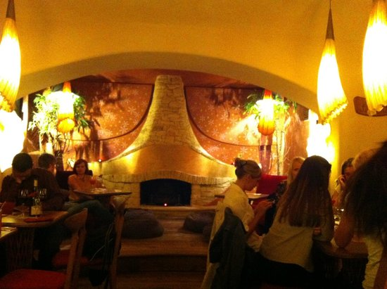 Maitrea: The fireplace in lower dining room