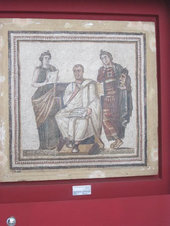 Musée National du Bardo : A mosaic of Virgil the Roman author of the 'The Aeneid' with the nymphs of drama and writing