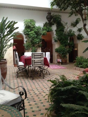 Riad Aguerzame: A view across the central area of the Riad showing the courtyard