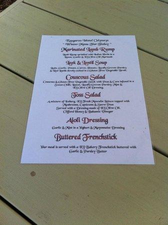 Kangaroo Island Odysseys : menu del pranzo