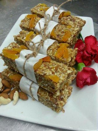 Reality Bites Cafe: Cardamon cashew and Apricot bar (raw vegan)