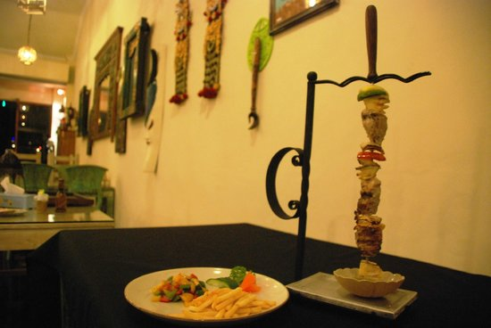 The Heritage Kitchen and Gallery: Jumbo Skewer - Served with Ratatouile, choice of potatoes or rice, and choice of sauce