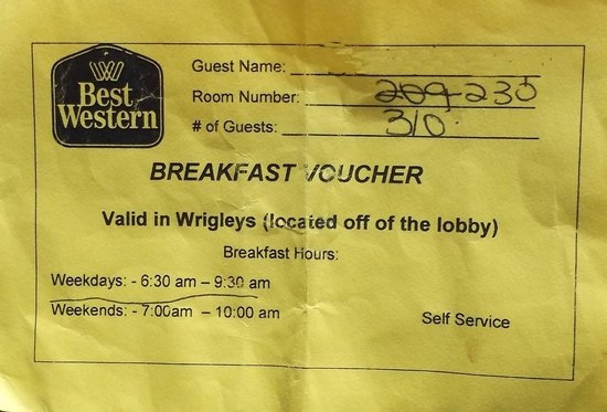 St. Catharines, Canada: Breakfast voucher.