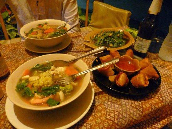 Two galangal-free soups, spring rolls, stir fried morning glory at Ba Kantiang Restaurant Ko Lan