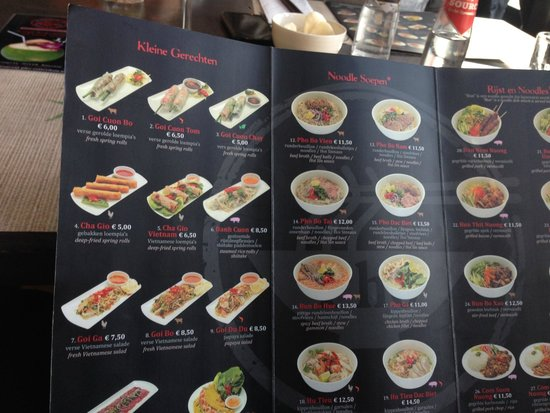 The Menu Picture Of Pho Vietnamese Restaurant Noodle Bar Rotterdam Tripadvisor