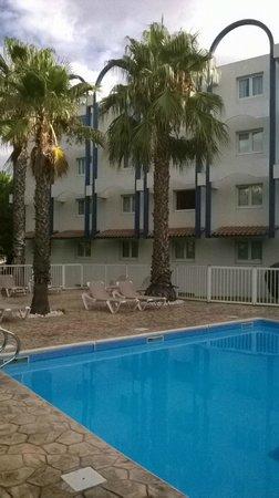 Novotel Montpellier: piscine et palmiers, certaines chambres ont la vue sur la piscine