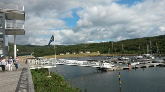 Portavadie: View of cottages from Marina deck