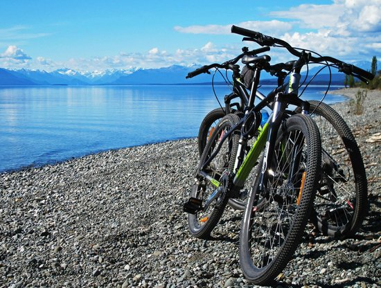 Te Anau Top 10 Holiday Park : Cycling just north of Te Anau