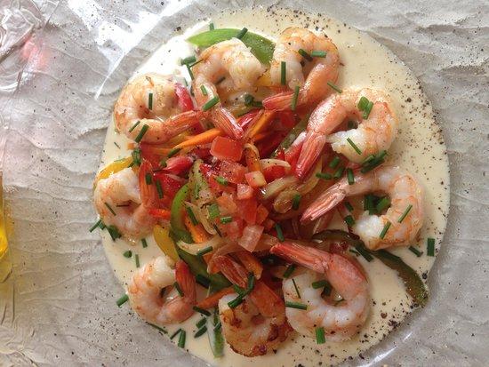Les Alizés : Poêlé de crevettes aux légumes croquants un vrai délice
