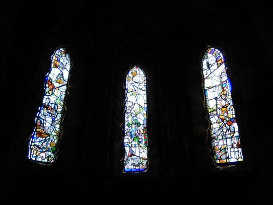 Conwy Castle: Stained glass windows inside The Royal Chapel