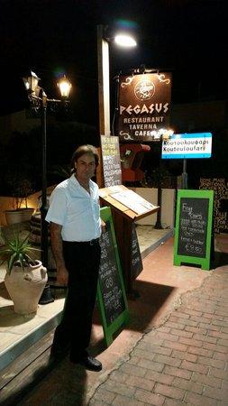Pegasus Restaurant Caffe: Manolis, the owner, of Pegasus restaurant.