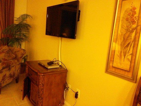 Blue Heron Beach Resort: showing the update TV in living room