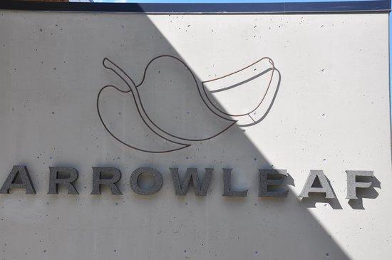 Arrowleaf Cellars : logo on the new tasting room