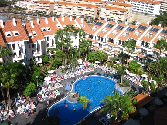 Paradise Park Fun Lifestyle Hotel: View of main pool and hotel from the rooftop pool area.