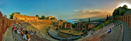 Teatro Greco: From the Greek Theater out to Mount Etna and sunset