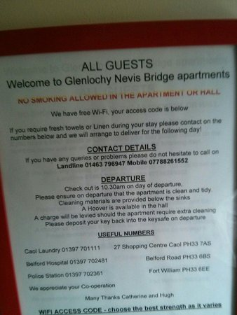 Glenlochy Nevis Bridge Apartments: Apartment rules...