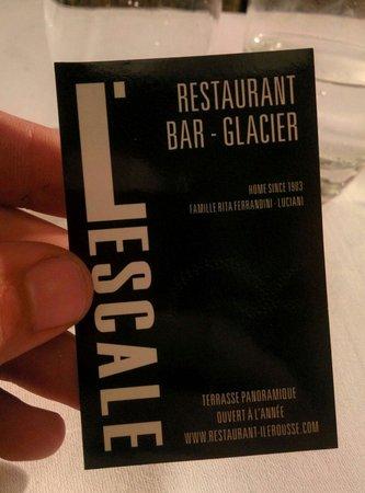 Restaurant L'Escale : Carte du resto face