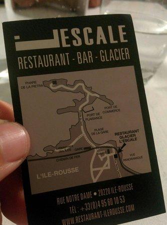 Restaurant L'Escale : Carte du resto