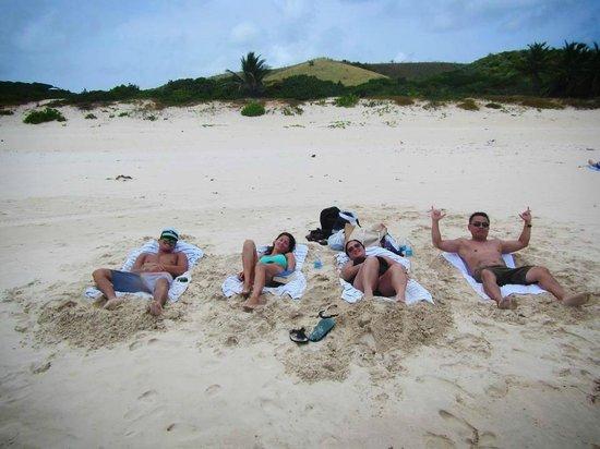 Flamenco Beach : our own makeshift lounge chairs