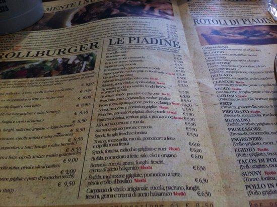 Piadineria ZERO733: il menu-tovaglia