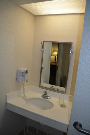 Super 8 Budd Lake: accessible bathroom mirror