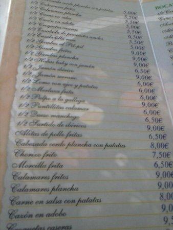 Hotel El Doncel: carta de raciones