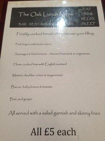 The Oak Inn: lunch menu