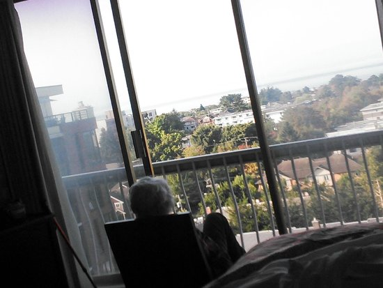 Harbour Towers : My mom gazing at the view from the 10th floor towards the Strait of Juan de Fuca