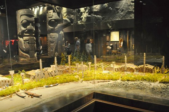 Real Museo BC: diorama of 1st nation village showing how totems used