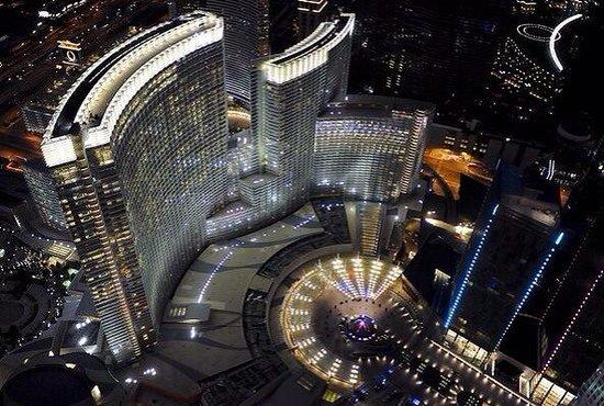 ARIA Resort & Casino: Stunning aerial of the hotel at night.
