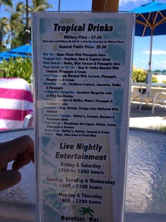 Hale Koa Hotel: Barefoot bar menu