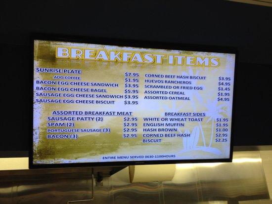 Hale Koa Hotel: Happy Snack Bar Breakfast Menu