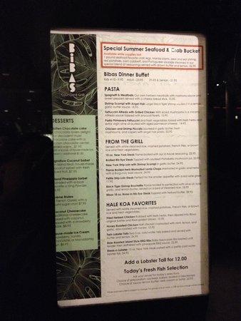 Hale Koa Hotel: Bibas menu