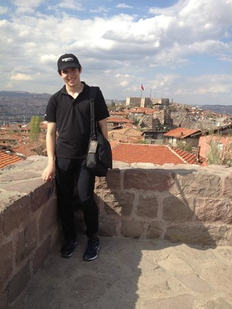 Ankara Castle : Kyle with amazing clouds & Turkish flag at the Citadel in background