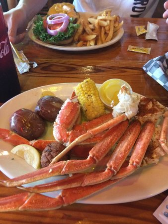 Gulf Island Grill: 1 lb of crab legs, corn on the cob, and new potatoes :-)