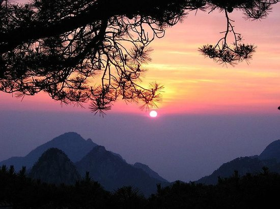 Huangshan, Kina: Sunset