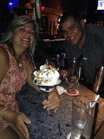Hard Rock Cafe: me and Bryan with my huge Sundae