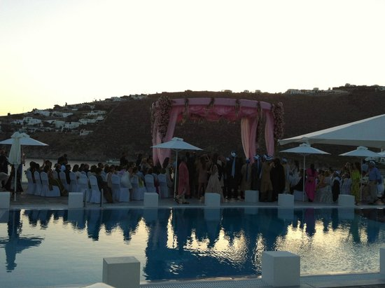 Petasos Town Hotel: Pool Side Wedding Decorations at Petasos Hotel