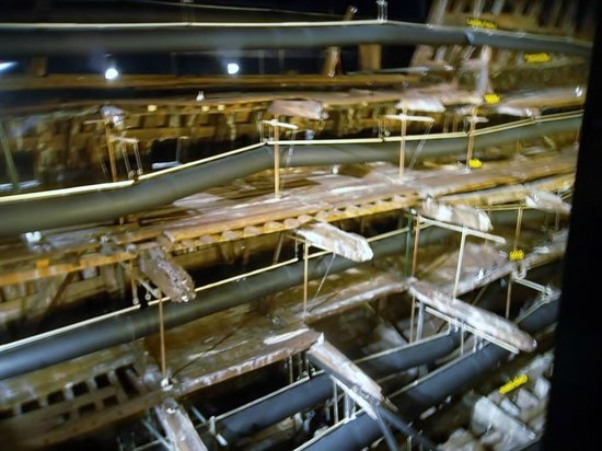 Portsmouth Historic Dockyard: The structure of the Mary Rose being dried out