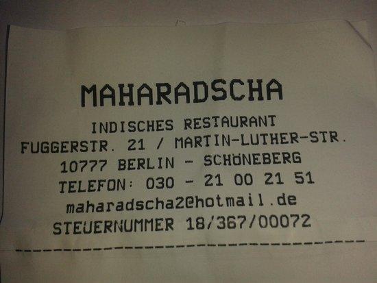 Indisches Restaurant Maharadscha: Rechnung