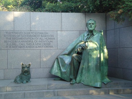 Franklin Delano Roosevelt Memorial: The man and his companion in difficult times.