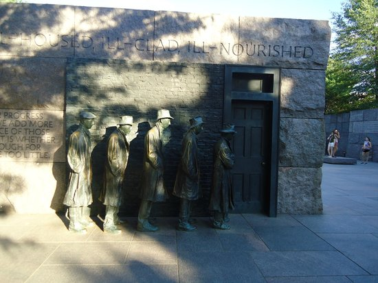 Franklin Delano Roosevelt Memorial: A reflection of the time FDR ruled the country and improved the situation.