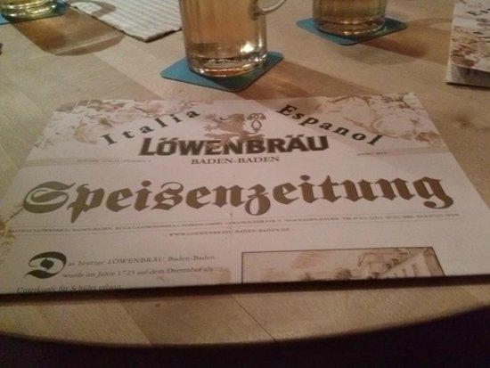 Löwenbräu: menu'