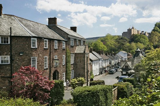 The Luttrell Arms with view towards Dunster Castle