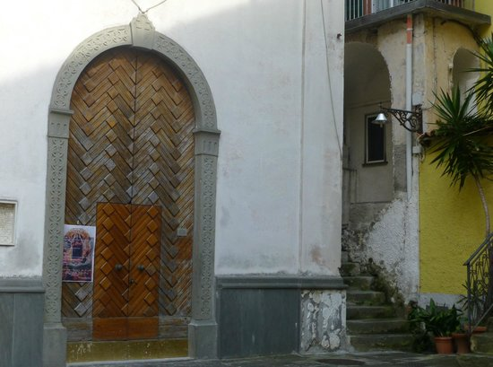 Start of steps to Cinqueterre Residence by village church