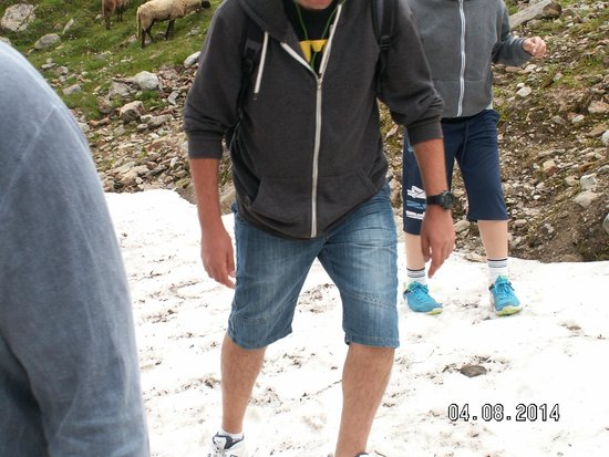 Rifflsee: Walking in the snow on August 4 :)