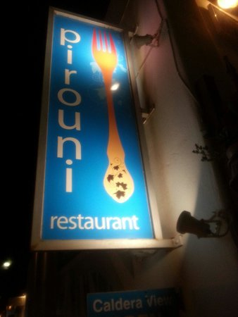 Pirouni: Restaurant sign
