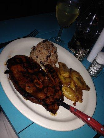 D Coalpot BVI Restaurant Bar & Grill: Jerk Pork Chop and Plantains