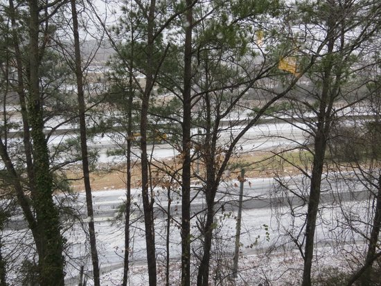 Holiday Inn Express & Suites Atlanta N-Perimeter Mall Area: room view from upper level facing highway during ice storm